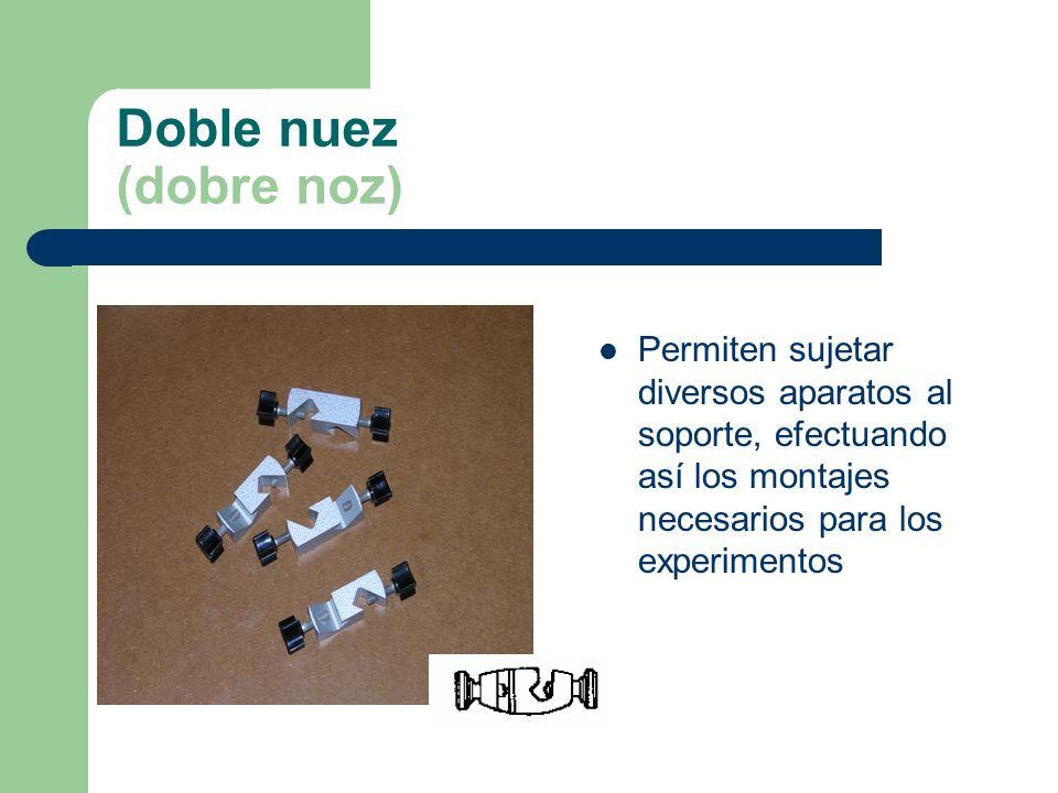 Pinzas (Pinzas de pás móbeis) Instrumento metálico, que por presión de las extremidades de sus dos brazos permiten la sujección de diversos aparatos en los montajes experimentales.