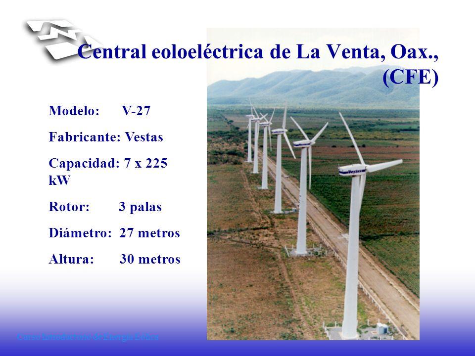 Curso Introductorio de Energía Eólica Modelo: V-27 Fabricante: Vestas Capacidad: 7 x 225 kW Rotor: 3 palas Diámetro: 27 metros Altura: 30 metros Centr