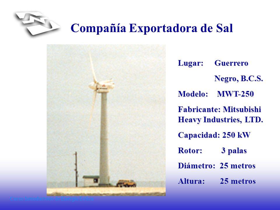 Curso Introductorio de Energía Eólica Compañía Exportadora de Sal Lugar: Guerrero Negro, B.C.S. Negro, B.C.S. Modelo: MWT-250 Fabricante: Mitsubishi H