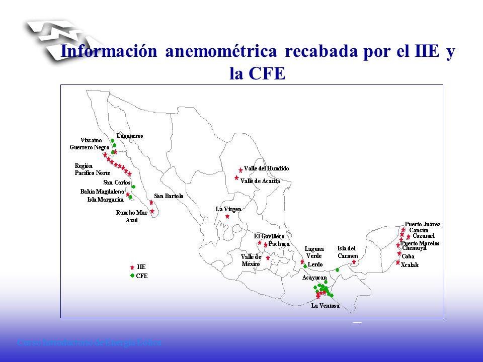 Curso Introductorio de Energía Eólica Información anemométrica recabada por el IIE y la CFE