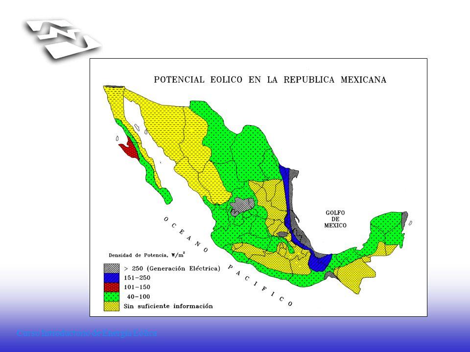 Comparativo de la velocidad media anual (Vv anual) en varios lugares del mundo LugarV V anual (m/s)Altura Alemania5-7(1) Los Países Bajos6.9-7.245 m (2) India7-8 La Virgen, Zac., Méx.7-845 m (3) Brownfield, Tx., EU7.455 m Dinamarca7-8 La Laguna, BCS., Méx.7.540 m (1) Gro.