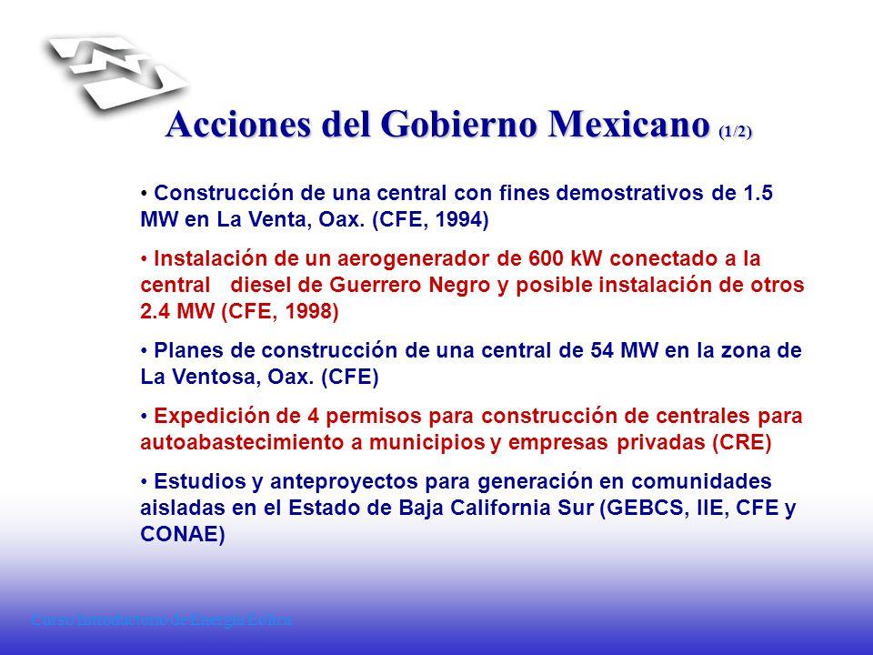 Curso Introductorio de Energía Eólica Acciones del Gobierno Mexicano (1/2) Construcción de una central con fines demostrativos de 1.5 MW en La Venta,