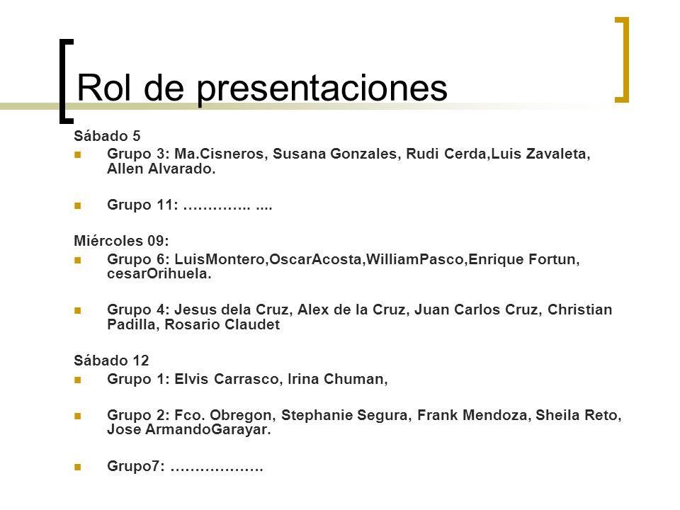 Rol de presentaciones Sábado 5 Grupo 3: Ma.Cisneros, Susana Gonzales, Rudi Cerda,Luis Zavaleta, Allen Alvarado. Grupo 11: …………...... Miércoles 09: Gru