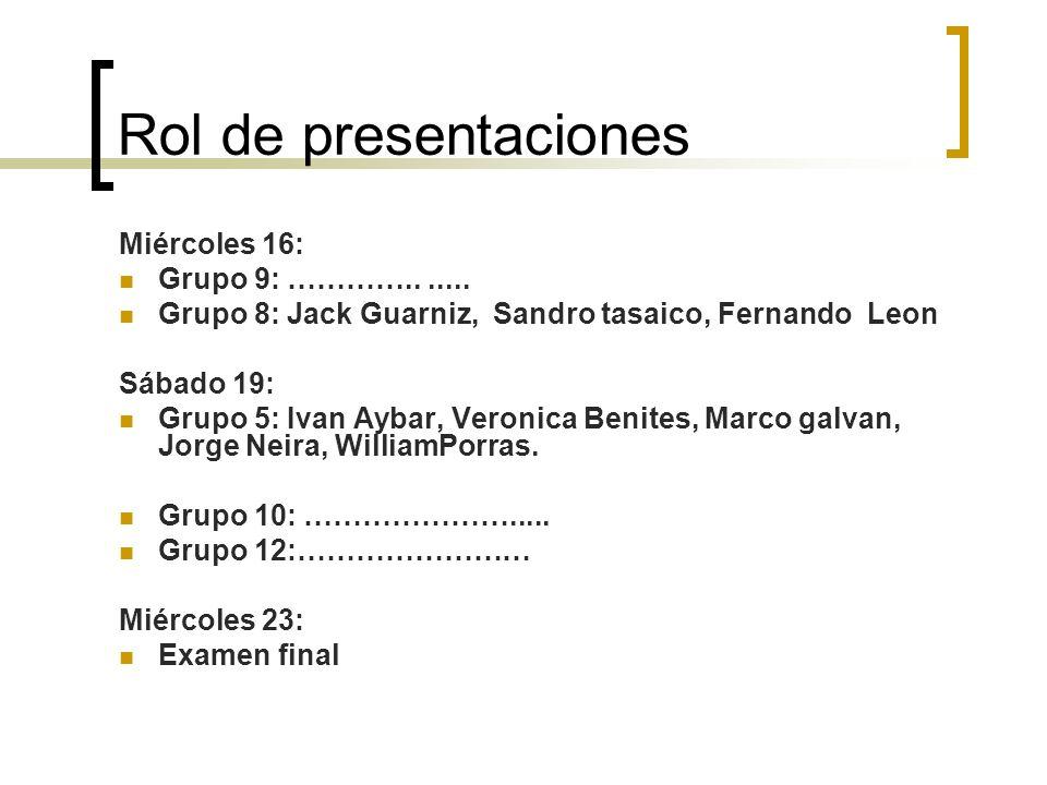 Rol de presentaciones Miércoles 16: Grupo 9: …………....... Grupo 8: Jack Guarniz, Sandro tasaico, Fernando Leon Sábado 19: Grupo 5: Ivan Aybar, Veronica