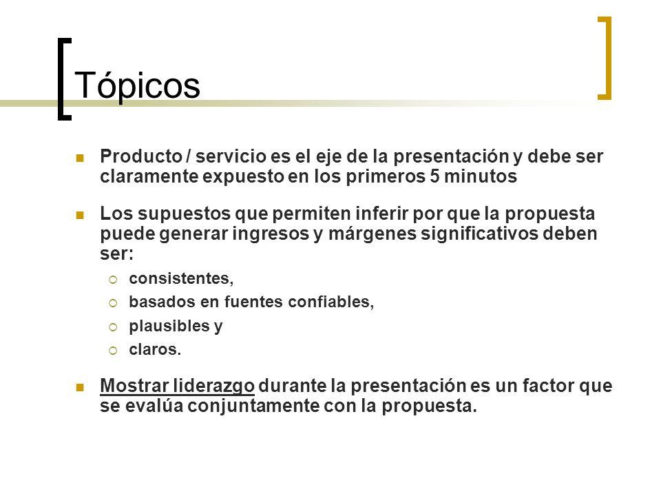 Tópicos Producto / servicio es el eje de la presentación y debe ser claramente expuesto en los primeros 5 minutos Los supuestos que permiten inferir p