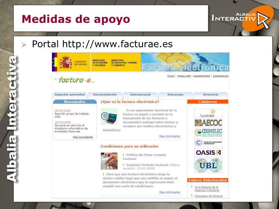 Medidas de apoyo Portal http://www.facturae.es