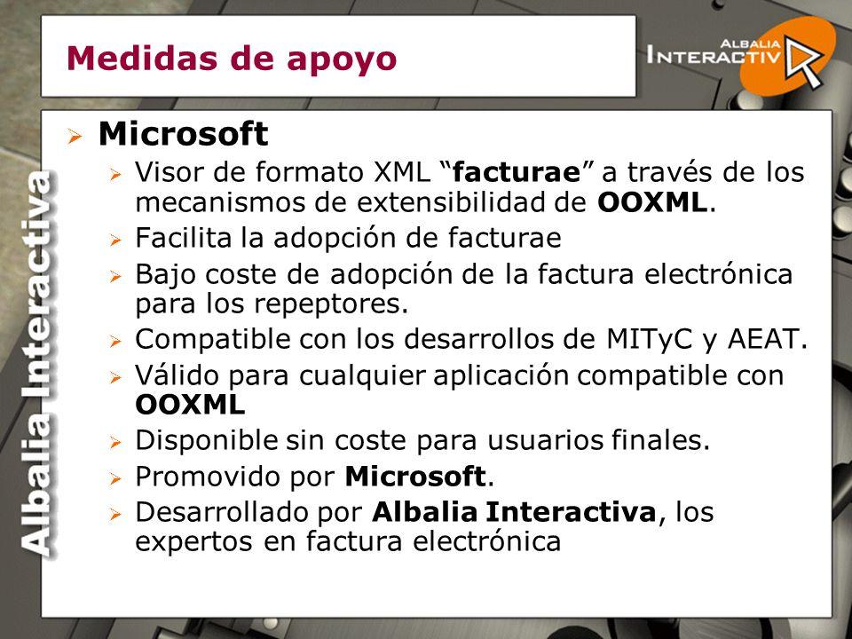 Medidas de apoyo Microsoft Visor de formato XML facturae a través de los mecanismos de extensibilidad de OOXML.