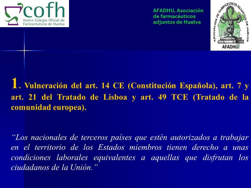 ARGUMENTOS SUSTANCIALES QUE DAN FUNDAMENTO A LA DEMANDA DE PROTECCIÓN DE DERECHOS FUNDAMENTALES AFADHU, Asociación de farmacéuticos adjuntos de Huelva