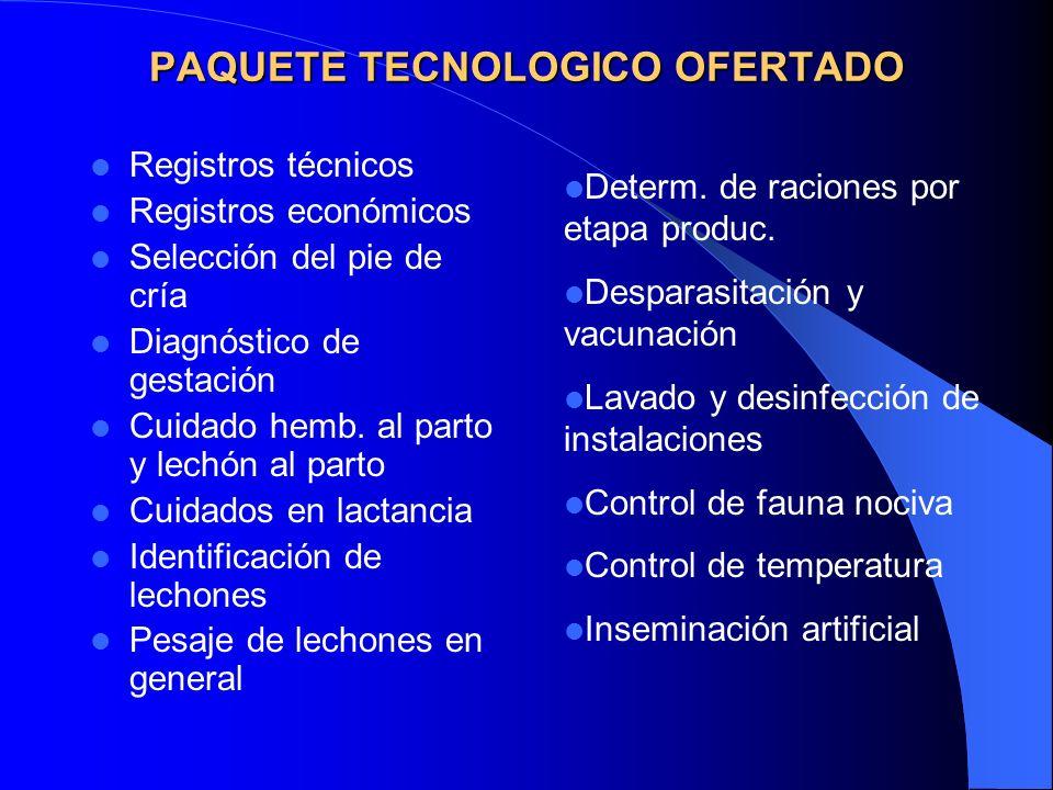 PAQUETE TECNOLOGICO OFERTADO Registros técnicos Registros económicos Selección del pie de cría Diagnóstico de gestación Cuidado hemb.