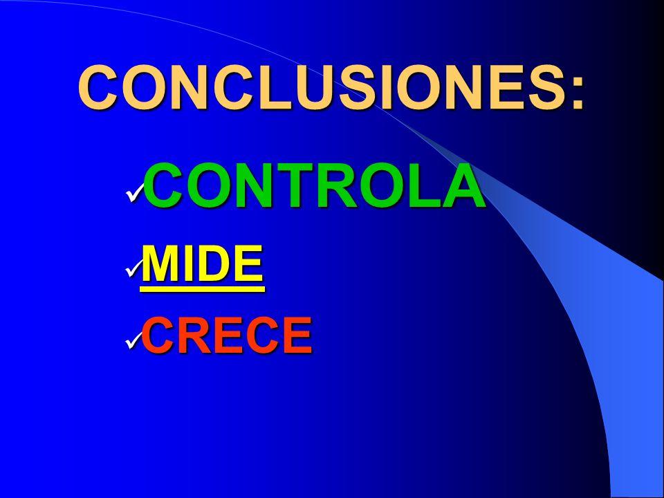 CONCLUSIONES: CONTROLA CONTROLA MIDE MIDE CRECE CRECE