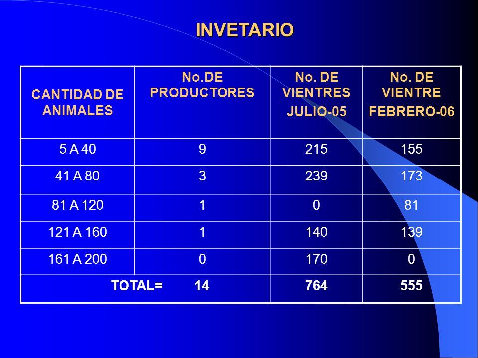 INVETARIO CANTIDAD DE ANIMALES No.DE PRODUCTORES No. DE VIENTRES JULIO-05 No. DE VIENTRE FEBRERO-06 5 A 409215155 41 A 803239173 81 A 1201081 121 A 16