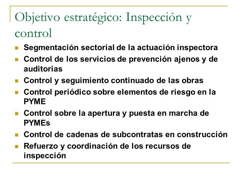 Objetivo estratégico: Inspección y control Segmentación sectorial de la actuación inspectora Control de los servicios de prevención ajenos y de audito