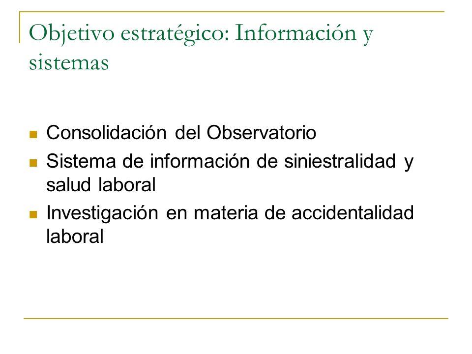 Objetivo estratégico: Información y sistemas Consolidación del Observatorio Sistema de información de siniestralidad y salud laboral Investigación en