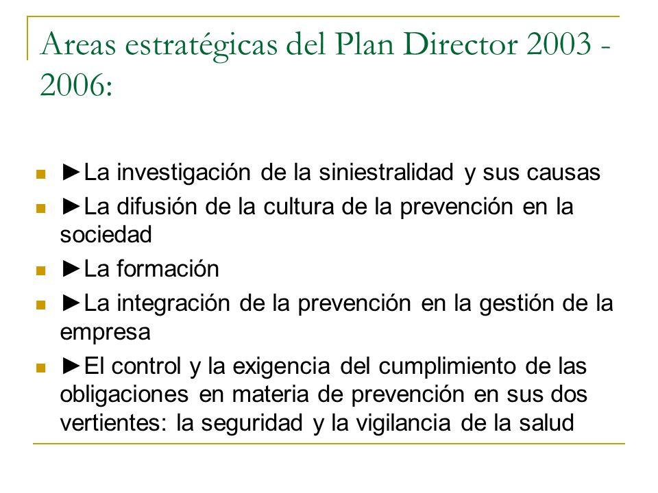 Areas estratégicas del Plan Director 2003 - 2006: La investigación de la siniestralidad y sus causas La difusión de la cultura de la prevención en la