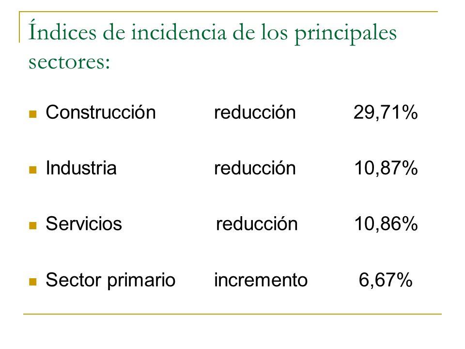 Índices de incidencia de los principales sectores: Construcciónreducción 29,71% Industriareducción 10,87% Servicios reducción10,86% Sector primarioinc
