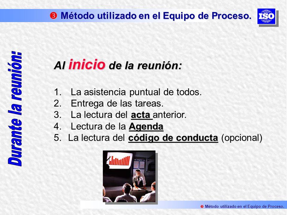 Al inicio de la reunión: 1. La asistencia puntual de todos. 2. Entrega de las tareas. acta 3. La lectura del acta anterior. Agenda 4. Lectura de la Ag