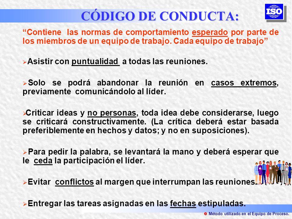 CÓDIGO DE CONDUCTA: Contiene las normas de comportamiento esperado por parte de los miembros de un equipo de trabajo. Cada equipo de trabajo Asistir c