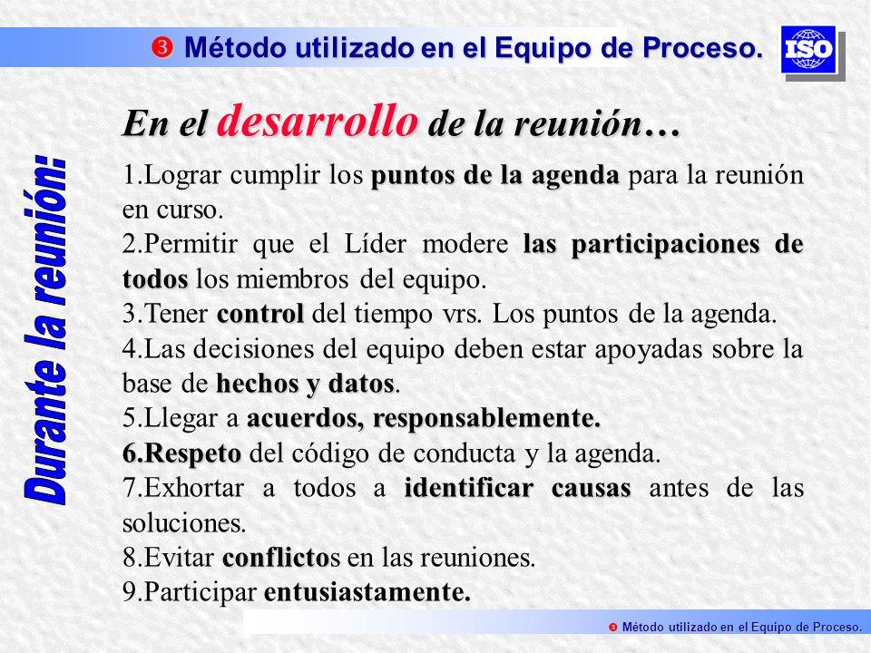 En el desarrollo de la reunión… puntos de la agenda 1.Lograr cumplir los puntos de la agenda para la reunión en curso. las participaciones de todos 2.