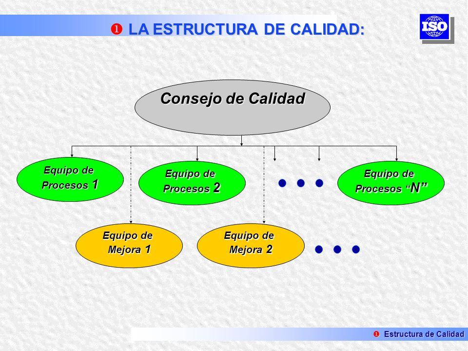 Consejo de Calidad Equipo de Procesos 1 Equipo de Procesos 2 Equipo de Procesos N Equipo de Mejora 2 Equipo de Mejora 1 Estructura de Calidad Estructu