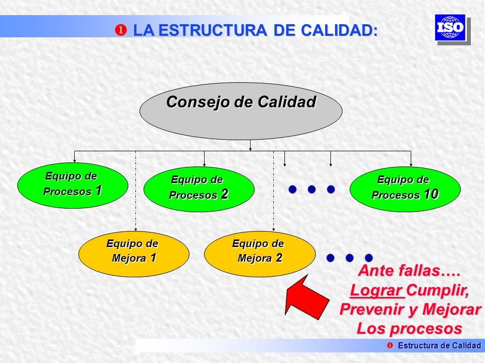 Consejo de Calidad Equipo de Procesos 1 Equipo de Procesos 2 Equipo de Procesos 10 Equipo de Mejora 2 Equipo de Mejora 1 Ante fallas…. Lograr Cumplir,