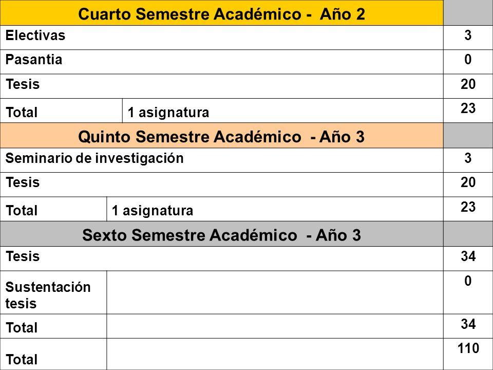 Cuarto Semestre Académico - Año 2 Electivas3 Pasantia0 Tesis20 Total1 asignatura 23 Quinto Semestre Académico - Año 3 Seminario de investigación3 Tesi
