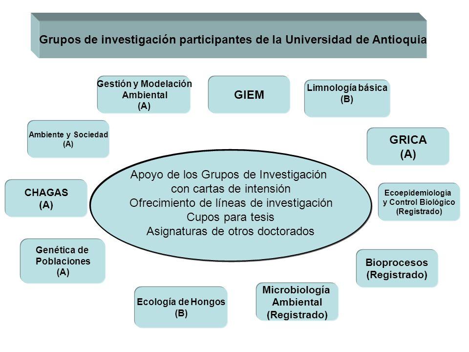 Apoyo de los Grupos de Investigación con cartas de intensión Ofrecimiento de líneas de investigación Cupos para tesis Asignaturas de otros doctorados
