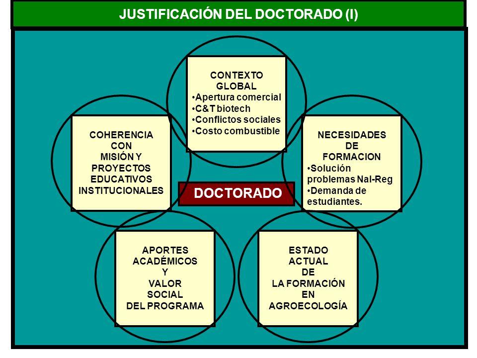 JUSTIFICACIÓN DEL DOCTORADO (I) DOCTORADO COHERENCIA CON MISIÓN Y PROYECTOS EDUCATIVOS INSTITUCIONALES NECESIDADES DE FORMACION Solución problemas Nal