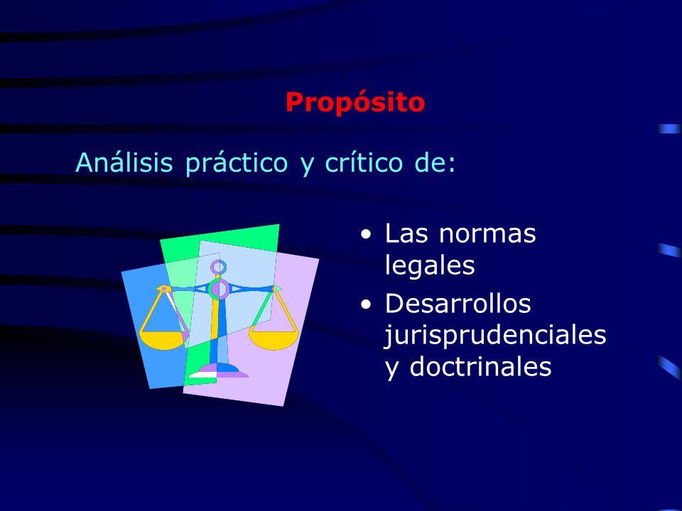 Propósito Las normas legales Desarrollos jurisprudenciales y doctrinales Análisis práctico y crítico de: