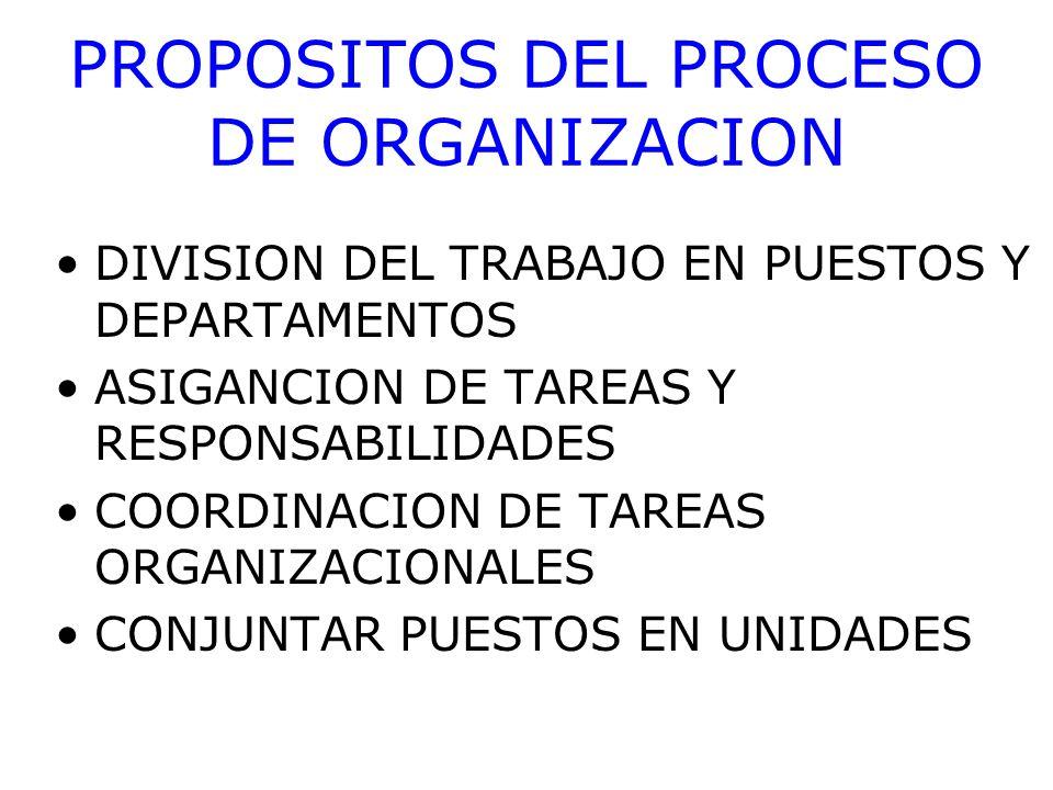 PROPOSITOS DEL PROCESO DE ORGANIZACION ESTABLECER RELACIONES ENTRE PERSONAS, GRUPOS Y DEPARTAMENTOS ESTABLECER LINEAS DE AUTORIDAD FORMALES ASIGNAR Y UTILIZAR RECURSOS ORGANIZACIONALES