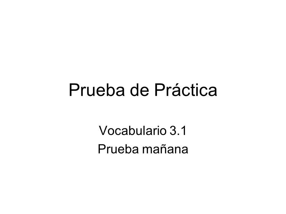 Prueba de Práctica Vocabulario 3.1 Prueba mañana