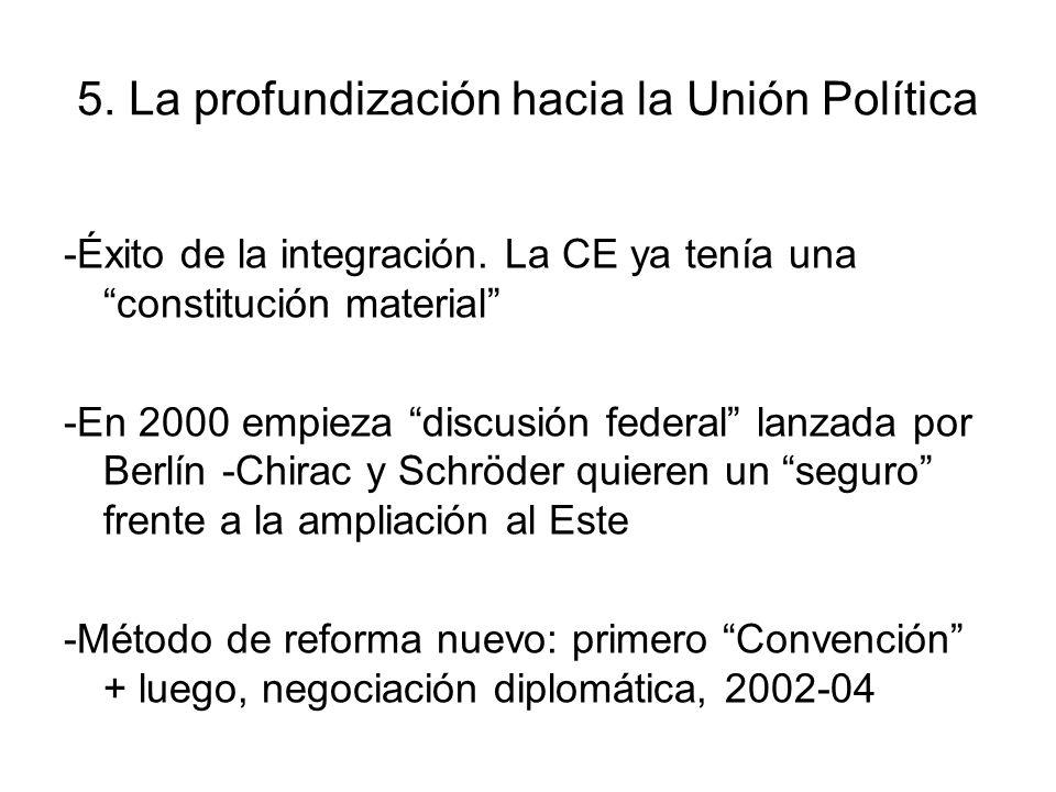 5. La profundización hacia la Unión Política -Éxito de la integración. La CE ya tenía una constitución material -En 2000 empieza discusión federal lan