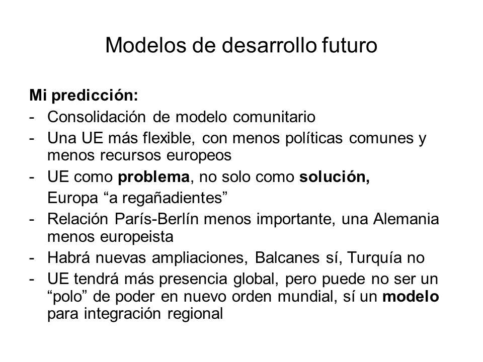 Modelos de desarrollo futuro Mi predicción: -Consolidación de modelo comunitario -Una UE más flexible, con menos políticas comunes y menos recursos eu