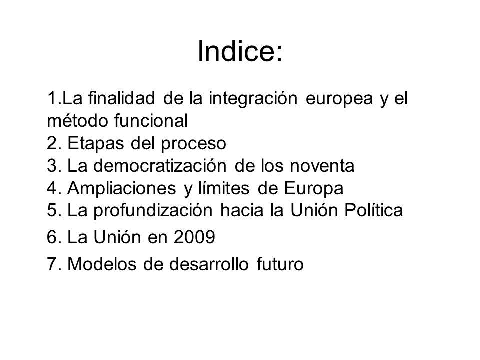Indice: 1.La finalidad de la integración europea y el método funcional 2. Etapas del proceso 3. La democratización de los noventa 4. Ampliaciones y lí