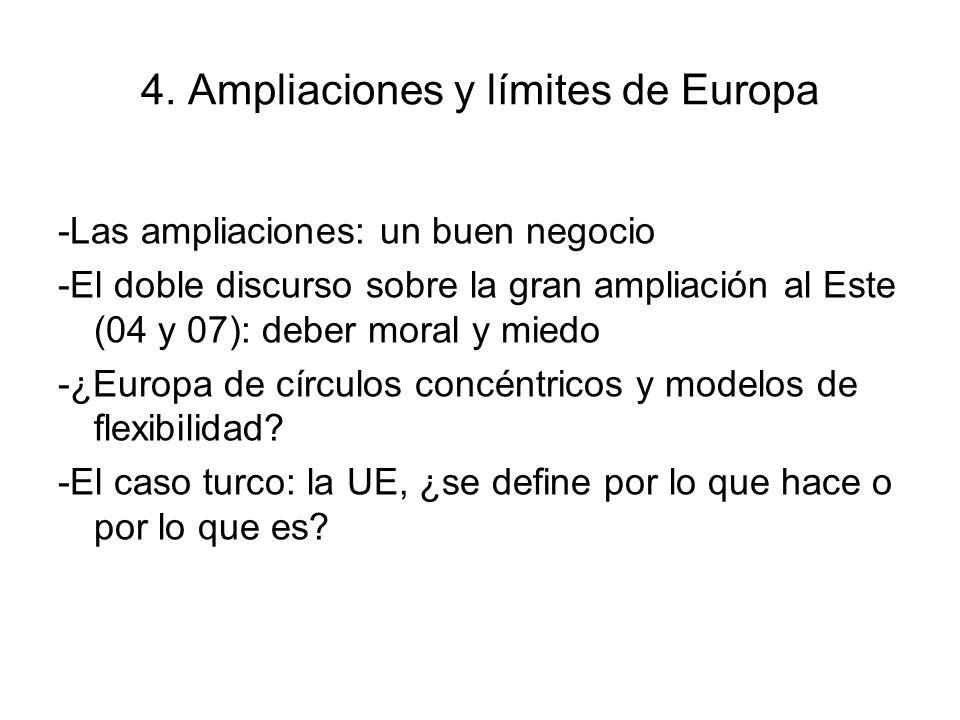 4. Ampliaciones y límites de Europa -Las ampliaciones: un buen negocio -El doble discurso sobre la gran ampliación al Este (04 y 07): deber moral y mi