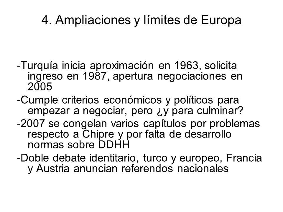 4. Ampliaciones y límites de Europa -Turquía inicia aproximación en 1963, solicita ingreso en 1987, apertura negociaciones en 2005 -Cumple criterios e