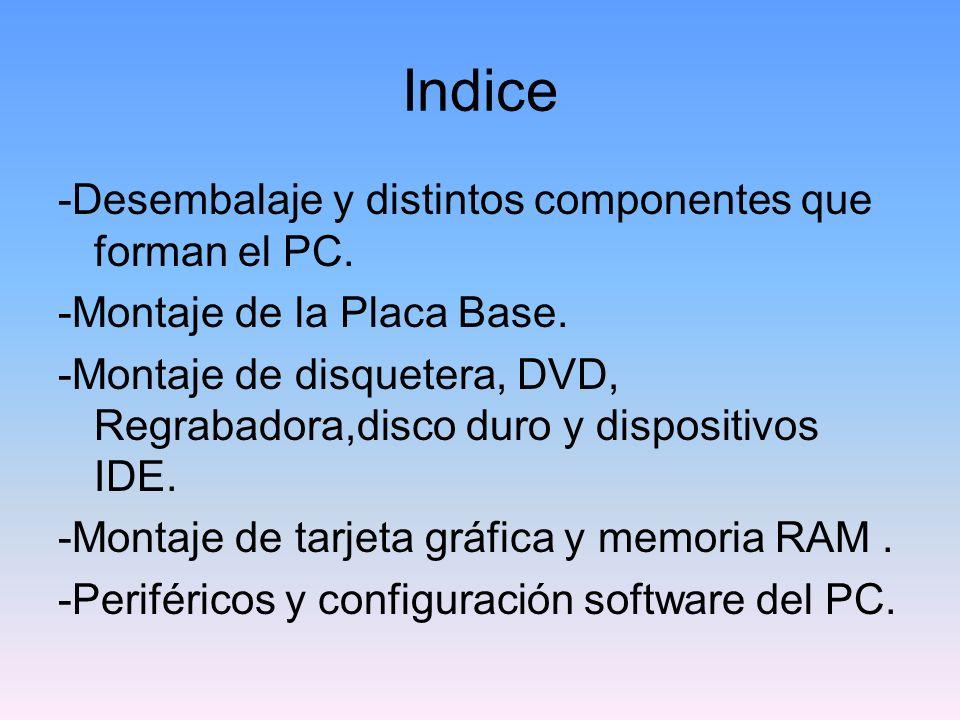 Indice -Desembalaje y distintos componentes que forman el PC.