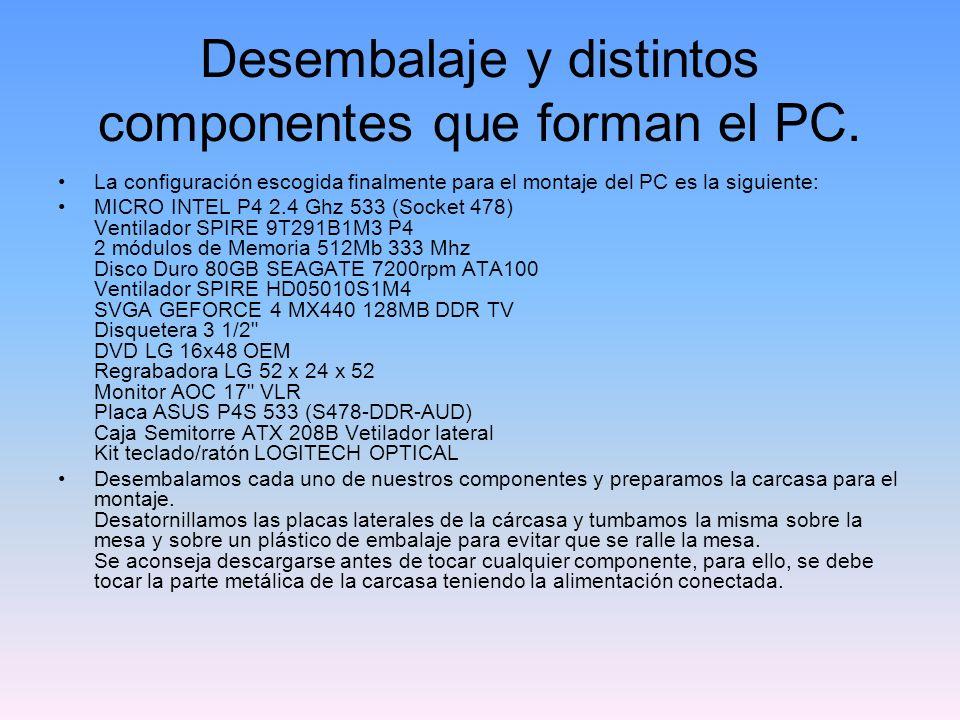 Desembalaje y distintos componentes que forman el PC.