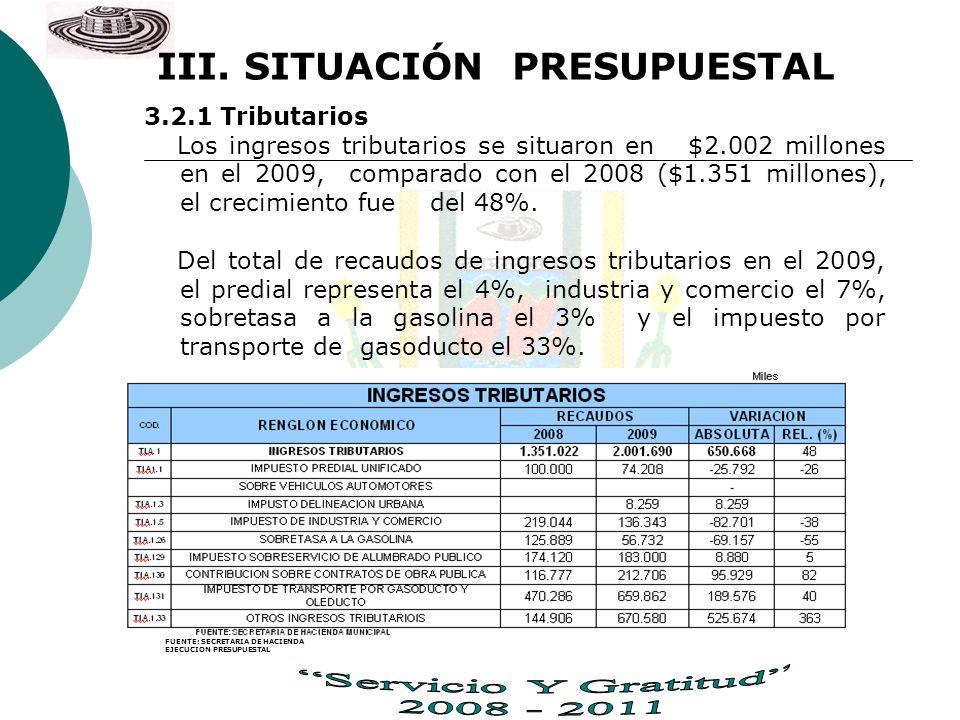 III. SITUACIÓN PRESUPUESTAL 3.2.1 Tributarios Los ingresos tributarios se situaron en $2.002 millones en el 2009, comparado con el 2008 ($1.351 millon