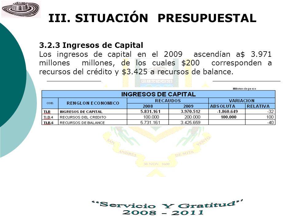 3.2.3 Ingresos de Capital Los ingresos de capital en el 2009 ascendían a$ 3.971 millones millones, de los cuales $200 corresponden a recursos del créd