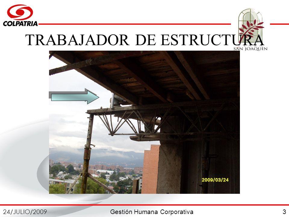 Gestión Humana Corporativa 24/JULIO/2009 3 TRABAJADOR DE ESTRUCTURA