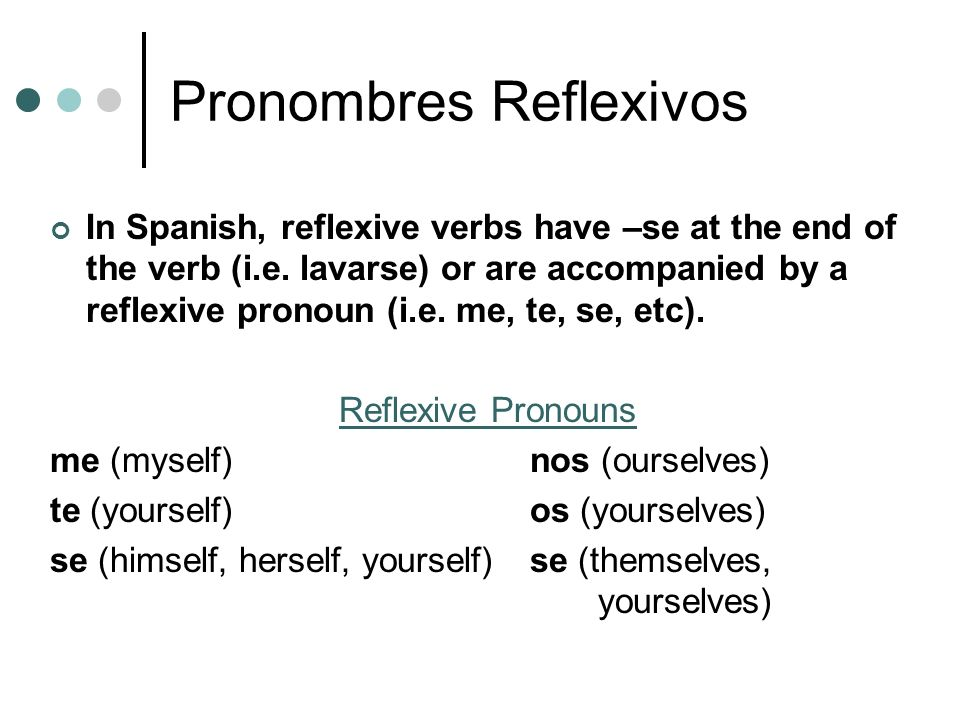 Pronombres Reflexivos In Spanish, reflexive verbs have –se at the end of the verb (i.e. lavarse) or are accompanied by a reflexive pronoun (i.e. me, t