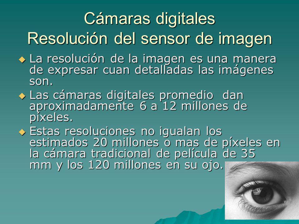 Cámaras digitales Resolución del sensor de imagen La resolución de la imagen es una manera de expresar cuan detalladas las imágenes son. La resolución