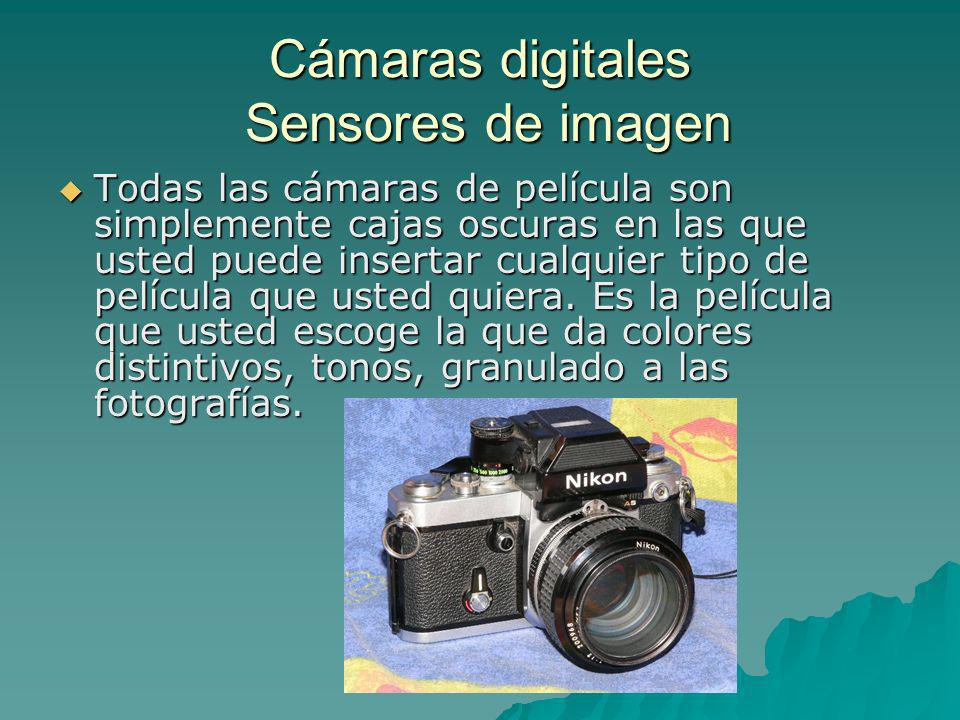 Cámaras digitales Sensores de imagen Todas las cámaras de película son simplemente cajas oscuras en las que usted puede insertar cualquier tipo de pel