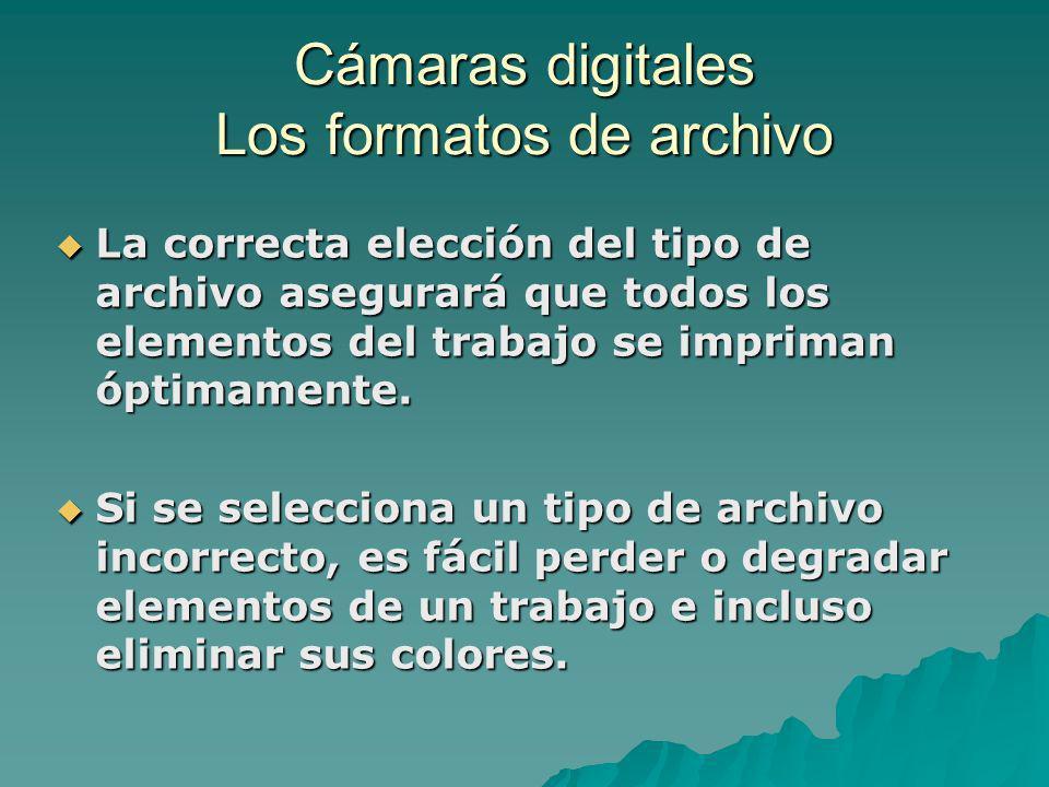 Cámaras digitales Los formatos de archivo La correcta elección del tipo de archivo asegurará que todos los elementos del trabajo se impriman óptimamen