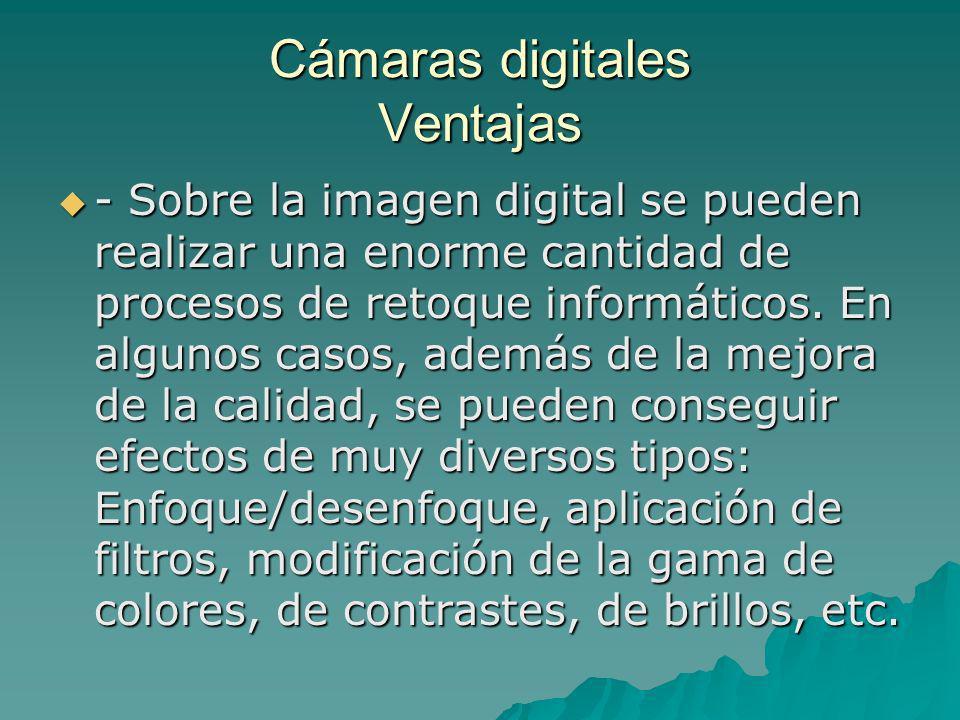 Cámaras digitales Ventajas - Sobre la imagen digital se pueden realizar una enorme cantidad de procesos de retoque informáticos. En algunos casos, ade