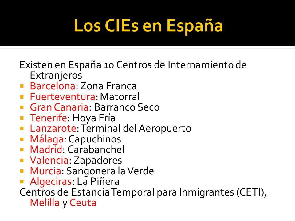 Existen en España 10 Centros de Internamiento de Extranjeros Barcelona: Zona Franca Fuerteventura: Matorral Gran Canaria: Barranco Seco Tenerife: Hoya