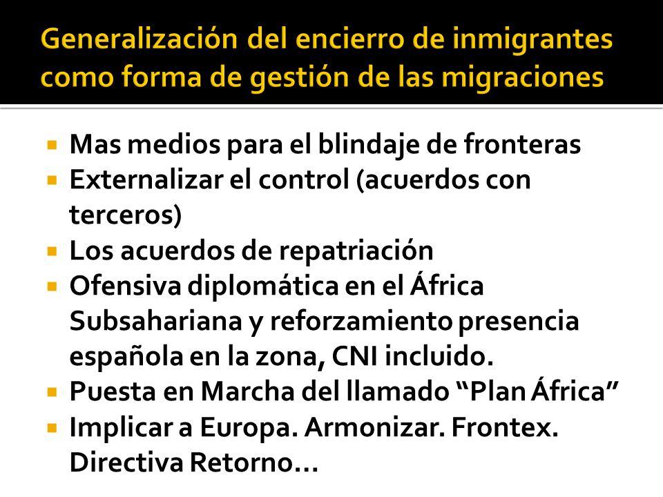 Mas medios para el blindaje de fronteras Externalizar el control (acuerdos con terceros) Los acuerdos de repatriación Ofensiva diplomática en el África Subsahariana y reforzamiento presencia española en la zona, CNI incluido.