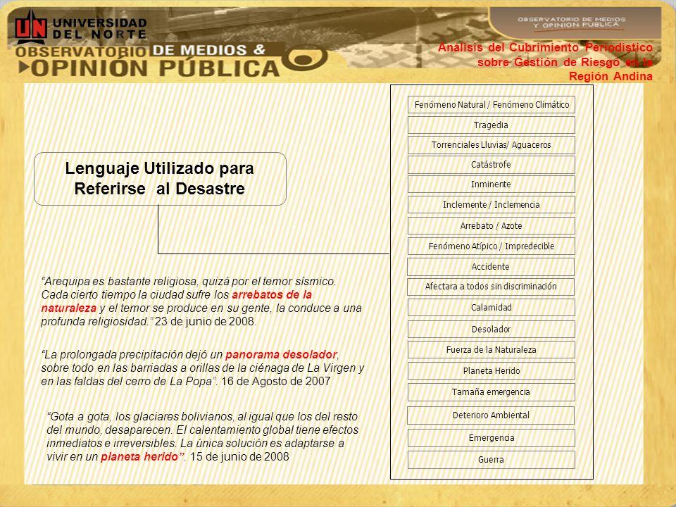 Análisis del Cubrimiento Periodístico sobre Gestión de Riesgo en la Región Andina Lenguaje Utilizado para Referirse al Desastre Fenómeno Natural / Fen