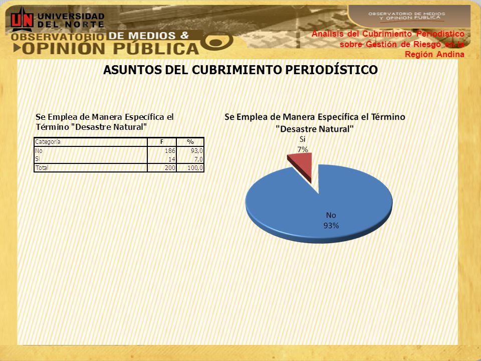 ASUNTOS DEL CUBRIMIENTO PERIODÍSTICO Análisis del Cubrimiento Periodístico sobre Gestión de Riesgo en la Región Andina