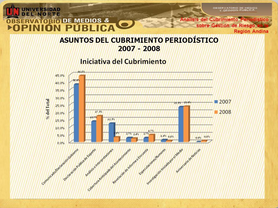 ASUNTOS DEL CUBRIMIENTO PERIODÍSTICO 2007 - 2008